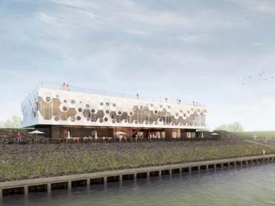 Artist-impression van het Afsluitdijk Wadden Center