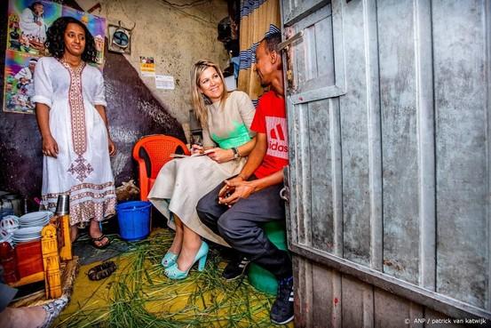 Tumult bij bezoek Máxima aan winkel Ethiopië
