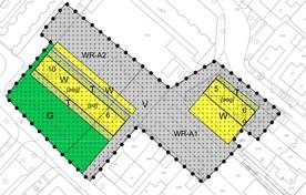 Het plan, met rechts het blok van vijf grotere huurwoningen.