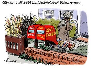Cartoon: Teylingen wil mensen met schuldproblemen opzoeken