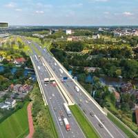 Het nieuwe snelwegviaduct dat naar verwachting eind volgend jaar open kan.