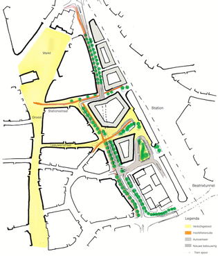 Gebouwen plat voor ringweg Hilversum