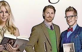 Schoenverkoopster Brigitte met de uitgeverij broers.
