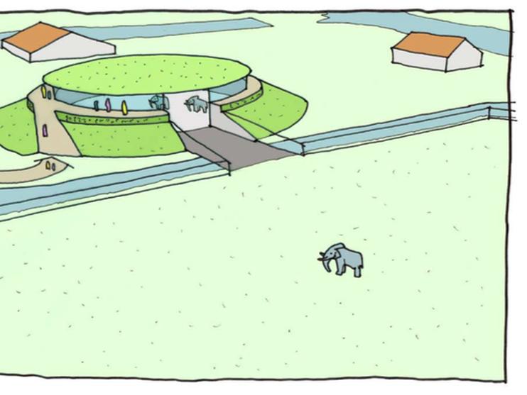 Impressie van hoe de olifantenopvang in Anna Paulowna er straks zal uitzien.