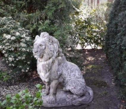 Hilversumse speeltuinvereniging Erfgooierskwartier dolblij met grote stenen leeuw, maar heeft één probleem: hoe krijg je hem in de speeltuin?