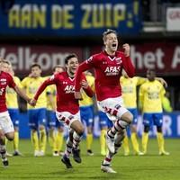 Wout Weghorst, Joris van Overeem en Stijn Wuytens juichen wanneer AZ zich ten koste van Cambuur heeft geplaatst voor de finale, drie weken geleden.