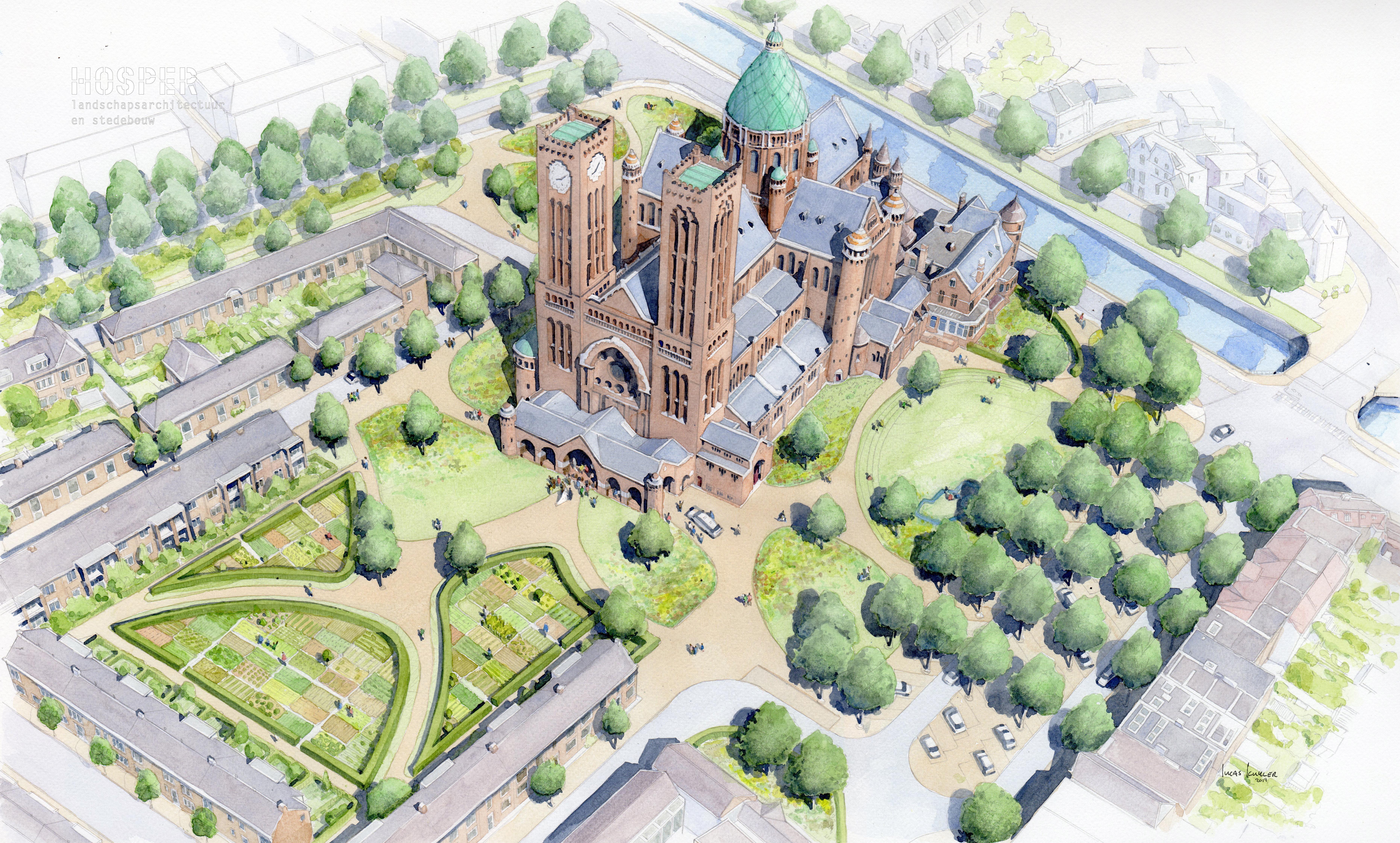 Groene wandeling rond de kathedraal in Haarlem: nog geen zekerheid of kerktuin bij stadspark komt - Haarlems Dagblad