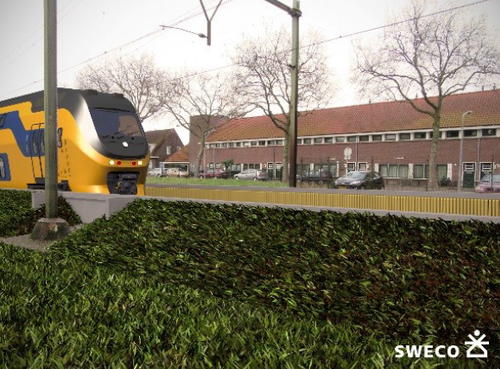 'Minischermen' bij spoor Hilversum