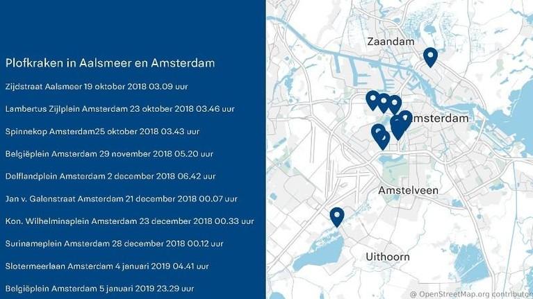 Twee aanhoudingen na reeks plofkraken in Amsterdam en Aalsmeer