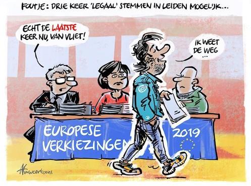 Cartoon: Tot drie keer stemmen mogelijk in Leiden