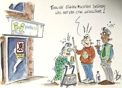 Verwarring rond Plein28 in Hillegom: mag daar straks nou wel of geen biertje, wijntje of advocaatje genuttigd worden?