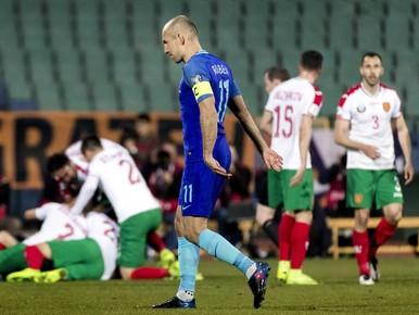 Arjen Robben baalt na de 2-0 tijdens de WK-kwalificatiewedstrijd van het Nederlands elftal tegen Bulgarije.