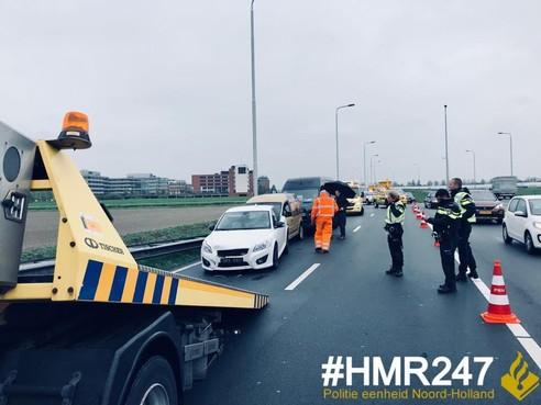 Twee gewonden bij ongeval met zes voertuigen op N201