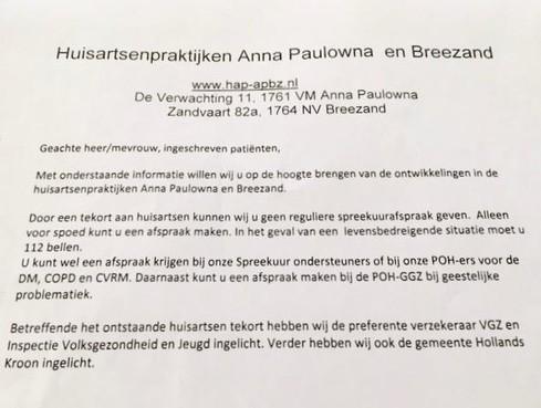 Spreekuur artsen Anna Paulowna en Breezand stopt door huisartsentekort, zorgverzekeraar zorgt voor alternatief