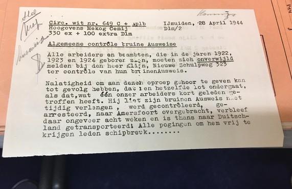 Oorlogsarchief Hoogovens laat zien hoe bedrijf trachtte zijn personeel uit de klauwen van de nazi's te houden