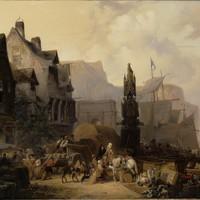 'Een drukke haven in Normandië' (1836) van Wijnand Nuijen