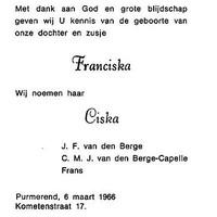 Geboortekaartje van Ciska.