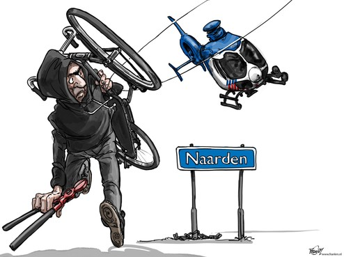 Cartoon: Welke straf krijgt een fietsendief die is achtervolgd door een politiehelikopter?