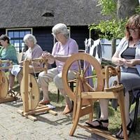 Dames achter het spinnenwiel tijdens de Woldag op Stroe.