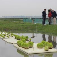 Bezoekers krijgen uitleg over drijvende teelt in de proeftuin.