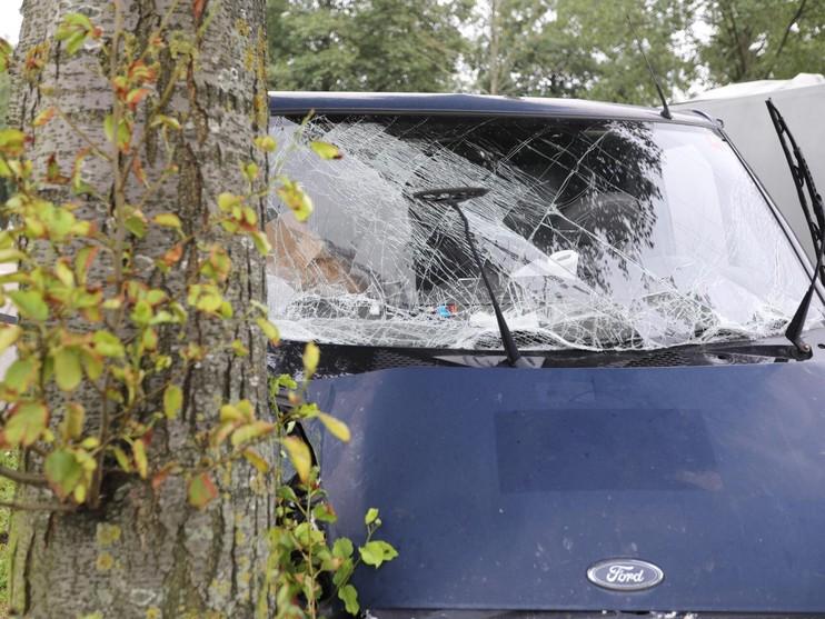Bestelbus crasht tegen boom bij Schiphol-Rijk