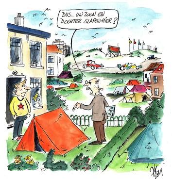 'Rustiek' kamperen in achtertuinen bij Zandvoortse racebaan