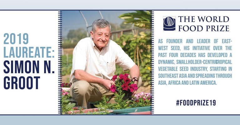 Enkhuizer Simon Groot krijgt World Food Prize, 'Nobelprijs' voor landbouw en voeding