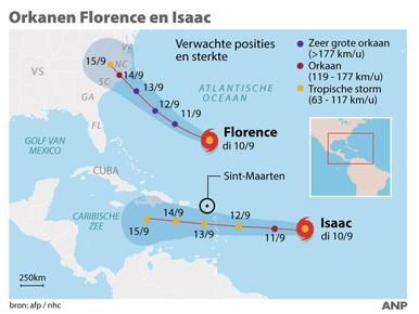 Orkanen Florence en Isaac in Caribisch gebied.