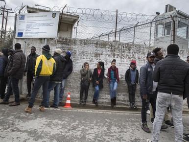 Vluchtelingen in het kamp Moria op Lesbos