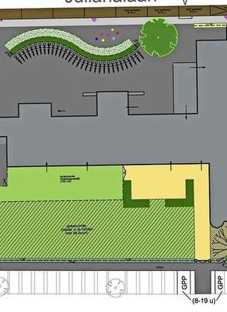 Het ontwerp voor de ruimte rondom de bibliotheek.