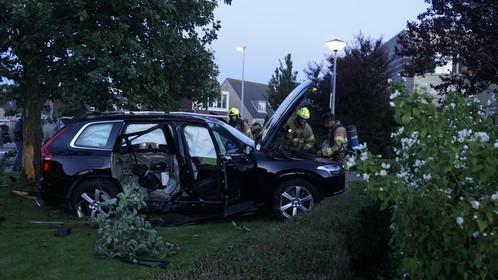 Ravage bij botsing auto tegen boom in Den Helder, vier gewonden