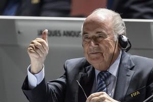 FIFA-baas Sepp Blatter is in opperbeste stemming. © AFP