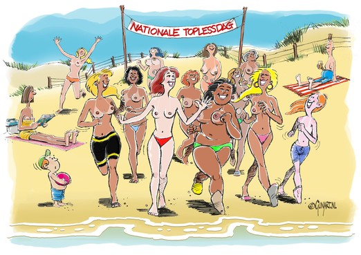 Nationale Toplessdag in Noordwijk