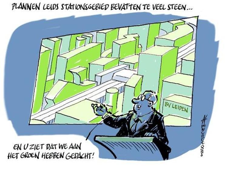 Cartoon: Stationsgebied Leiden, waar is het groen?