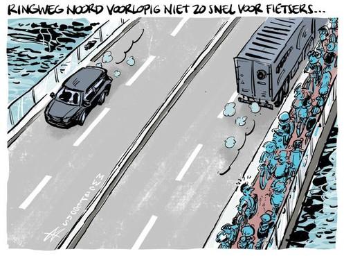 Cartoon: Ringweg Noord niet voor iedereen snel