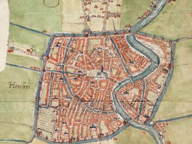 Op een van de oudste Haarlemse stadsplattegronden, die van Jacob van Deventer uit 1565, staat de Beek duidelijk aangegeven.