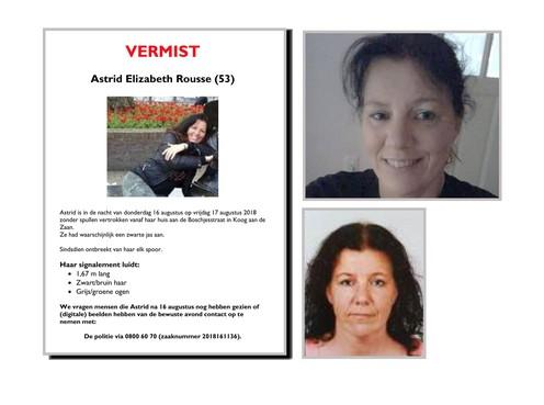 Familie deelt flyers over vermiste Astrid Rousse uit in Koog aan de Zaan