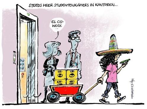 Cartoon: Steeds meer studentenkamers in kantoren