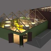 Een technische impressie van het nieuwe Molenmuseum Wereld van Windmolens, volgens plan van de Vereniging Zaansche Molen