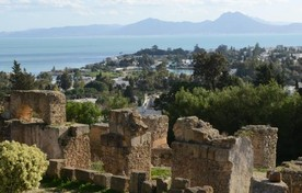 Carthago, ruines met zicht op de antieke ronde militaire haven