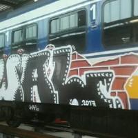 Beschadigde trein in Haarlem.